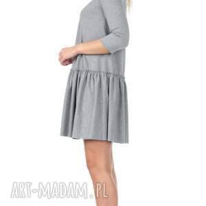 dzianina sukienki szara sukienka z falbaną