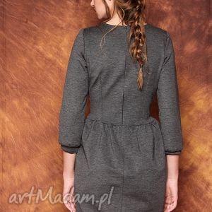 sukienki bufki szara sukienka z bufkami