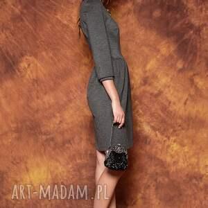 handmade sukienki sukienka szara z bufkami