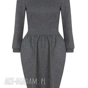 bufki sukienki szara sukienka z bufkami