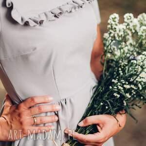midi sukienki szara sukienka z falbanką