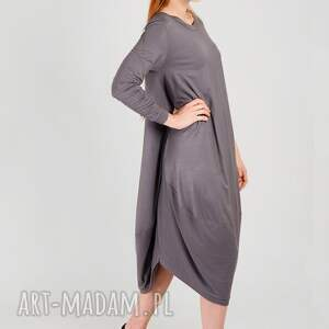 hand made stalowa szara sukienka oversize z dzianiny
