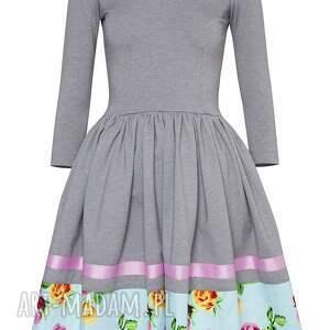 midi sukienki szara sukienka hiszpanka z kwiatową