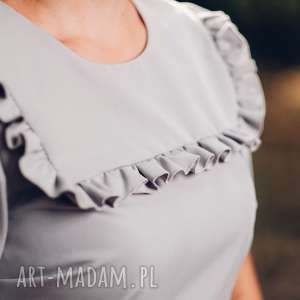 handmade sukienki sukienka szara midi z falbanką
