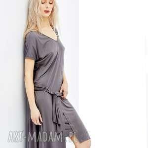 nietuzinkowe sukienki sukienka szara z asymetrycznym