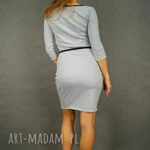 rękaw 3-4 sukienki szara sukienka dresowa z rękawem