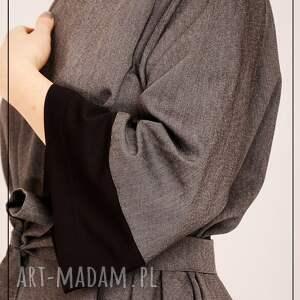 szare sukienki elegancka szaro czarna sukienka