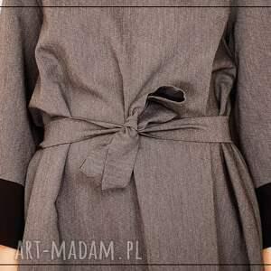 modne sukienki wiązanie szaro czarna sukienka