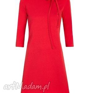 czerwone sukienki sukienka trapezowa z kokardką
