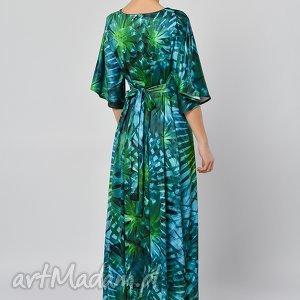turkusowe sukienki jersey tropikalna magdalena - sukienka