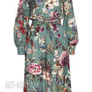 sukienki midi turkusowa sukienka w kwiaty paloma