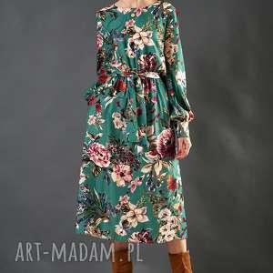 midi sukienki turkusowa sukienka w kwiaty paloma
