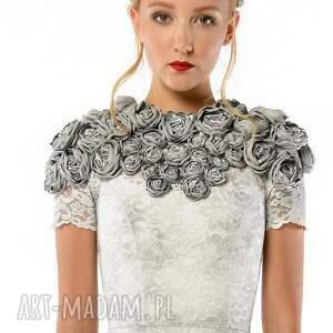 szare sukienki ślubna tworzysława mini - koronkowa