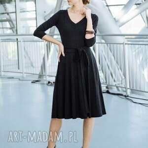 ręcznie robione sukienki sukienka v-neck z dzianiny