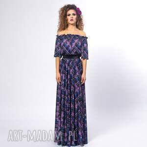 ręcznie robione sukienki długa vanessa - violet mix