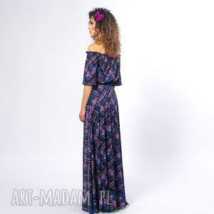 niebieskie sukienki elastyczna vanessa - violet mix