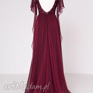 koronka sukienki sukienka uszyta z bordowego, opalizującego