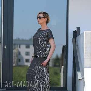 czarne sukienki wiskoza w labiryncie drzew sukienka