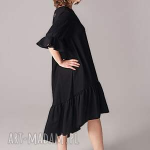 małaczarna sukienki wełniana sukienka z marszczoną