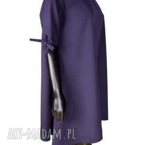 sukienki prosta wełniana sukienka z kokardkami