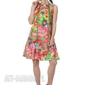 ciekawe sukienki bawełna viva la fiesta! niezwykły print na 100%