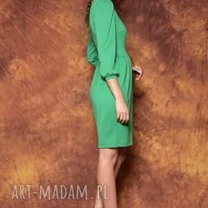 trendy sukienki sukienka zielona z bufkami