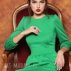 sukienki bufki zielona sukienka z bufkami