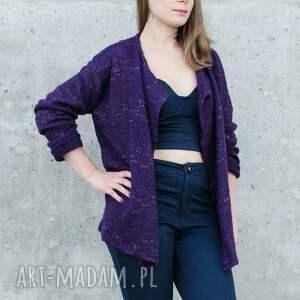 swetry akryl ażurowy fioletowy sweter ze zlotą