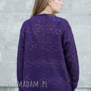 oczka swetry ażurowy fioletowy sweter ze zlotą