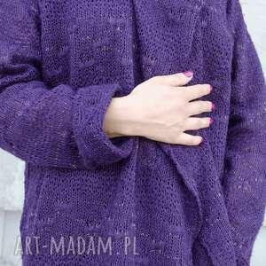 swetry oczka ażurowy fioletowy sweter ze zlotą