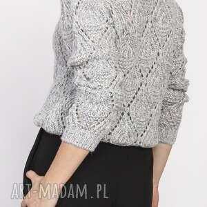 LANTI urban fashion Ażurowy sweter, swe123 szary