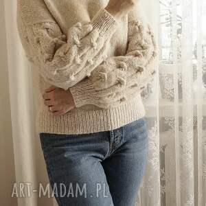 handmade swetry ekskluzywny beżowy bomberek