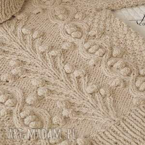 swetry: beżowy golf - sweter welniany