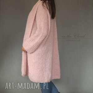 swetry sweter bladoróżowy długi kardigan