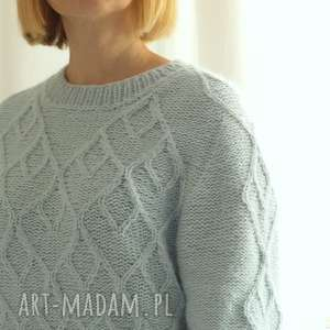 hand made swetry sweter błękitno miętowy
