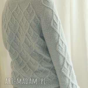 hand made swetry alpaka błękitno miętowy