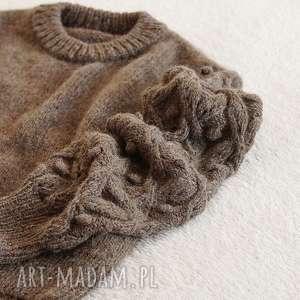 wyjątkowe swetry bomberek brązowy