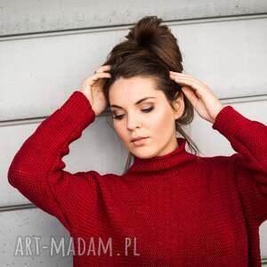 ciekawe swetry sweter ciepły, ciemnoczerwony z małym golfem