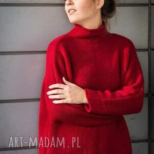 swetry z golfem ciepły, ciemnoczerwony sweter