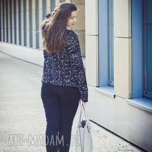 HERMINA czarne swetry sweter ciepły, czarny, kimonowy