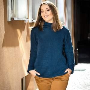 efektowne swetry sweter ciepły, granatowy