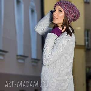 modne swetry sweter ciepły, jasnoszary