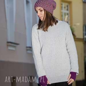 swetry z golfem ciepły, jasnoszary sweter
