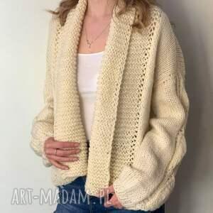 ciekawe swetry kardigan ciepły sweter ecru