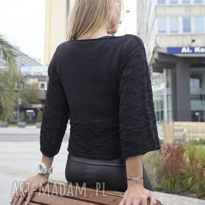 swetry sweter czarny ażurowy sweterek szyszka