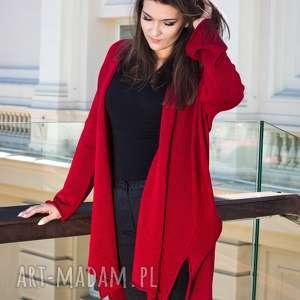 ręcznie robione swetry kardigan czerwony