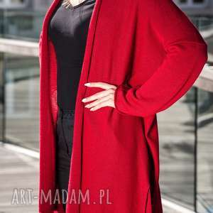 ręcznie robione sweter czerwony kardigan