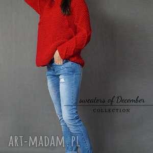 eleganckie swetry romby czerwony sweter