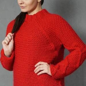 romby swetry czerwony sweter