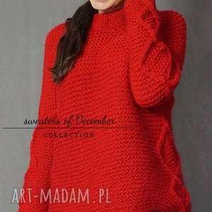 swetry romby czerwony sweter